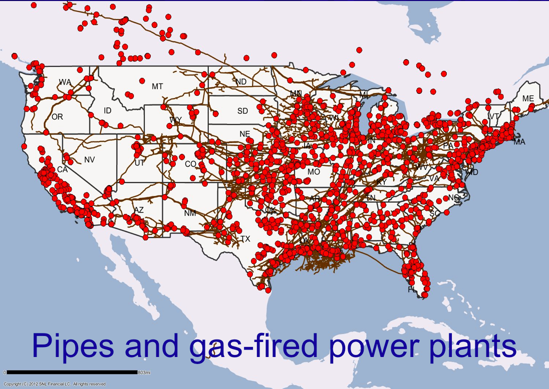 Gas fired power plants in US